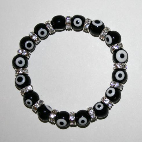 Bild på Armband med det skyddande ögat - svart och silverfärg