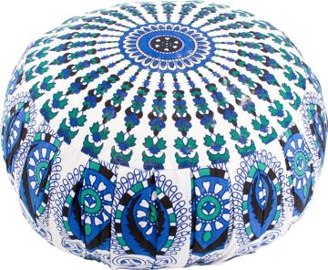 Bild på Meditationskudde: rund mandala (blå, grön och vit)