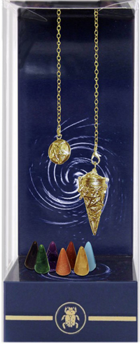 Bild på Premium Pagan Pentacle Gold Chamber Pendulum