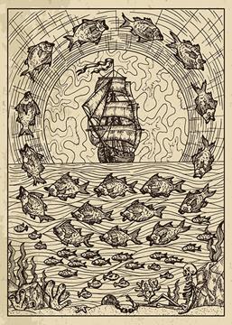 Bild på Lenormand Engraved Fish (13x18)